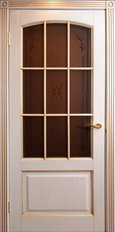 Дверь Венеция ваниль со стеклом