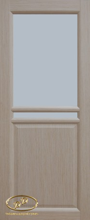 Дверь Рондо 4 дуб беленый витраж